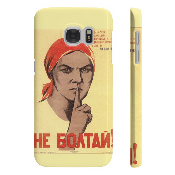No Gossip! Soviet Propaganda Poster Slim Phone Cases - DaVatka Fashion