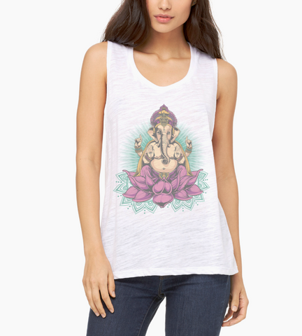 Ganesha Yoga Meditation Women's Flowy Scoop Muscle Tank - DaVatka Fashion