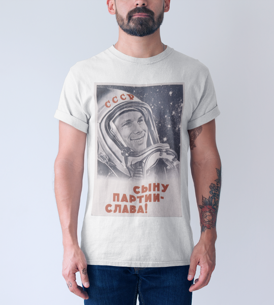 Soviet Cosmonaut Men's Fitted Short Sleeve Tee - DaVatka Fashion