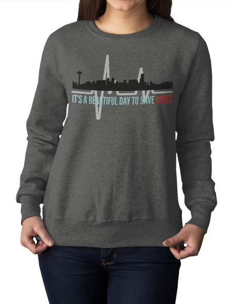 Greys Anatomy Sweatshirt Quote It's A Beautiful Day To Save Lives Unisex Heavy Blend™ Crewneck Sweatshirt - DaVatka Fashion