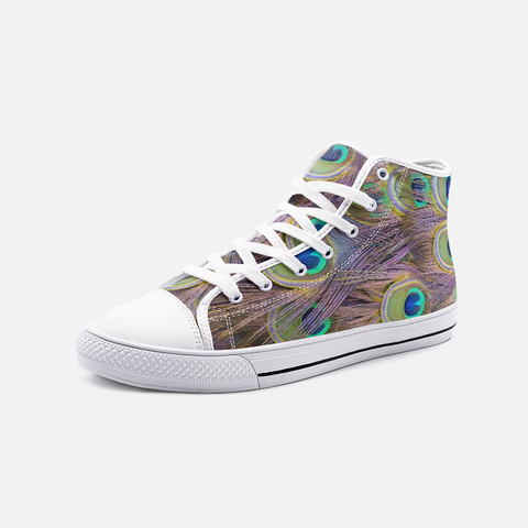 Peacock Feather Boho Unisex High Top Canvas Shoes