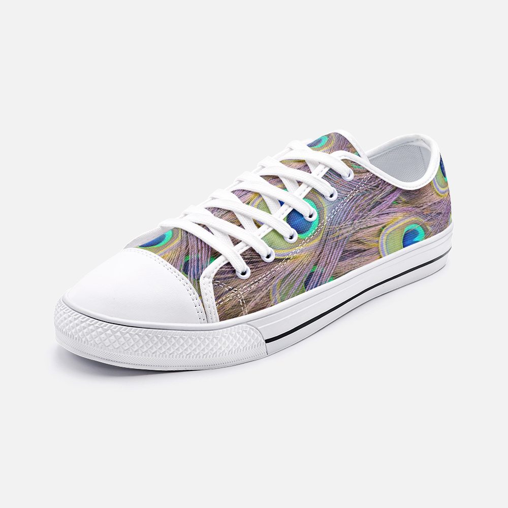 Peacock Feathers Bogo Unisex Low Top Canvas Shoes