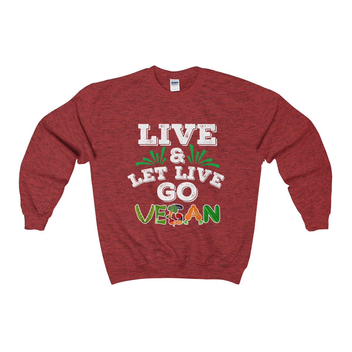 Vegan Sweatshirt Slogan Live And Let Live Go Vegan Unisex Heavy Blend™ Crewneck Sweatshirt - DaVatka Fashion