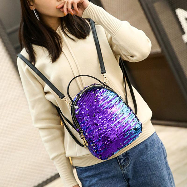 Women Sequins Backpack Female Fashion Bling Bling Children Backpacks Mini Bags Ladies Casual Shoulder Bags For Teenager Girls - DaVatka Fashion