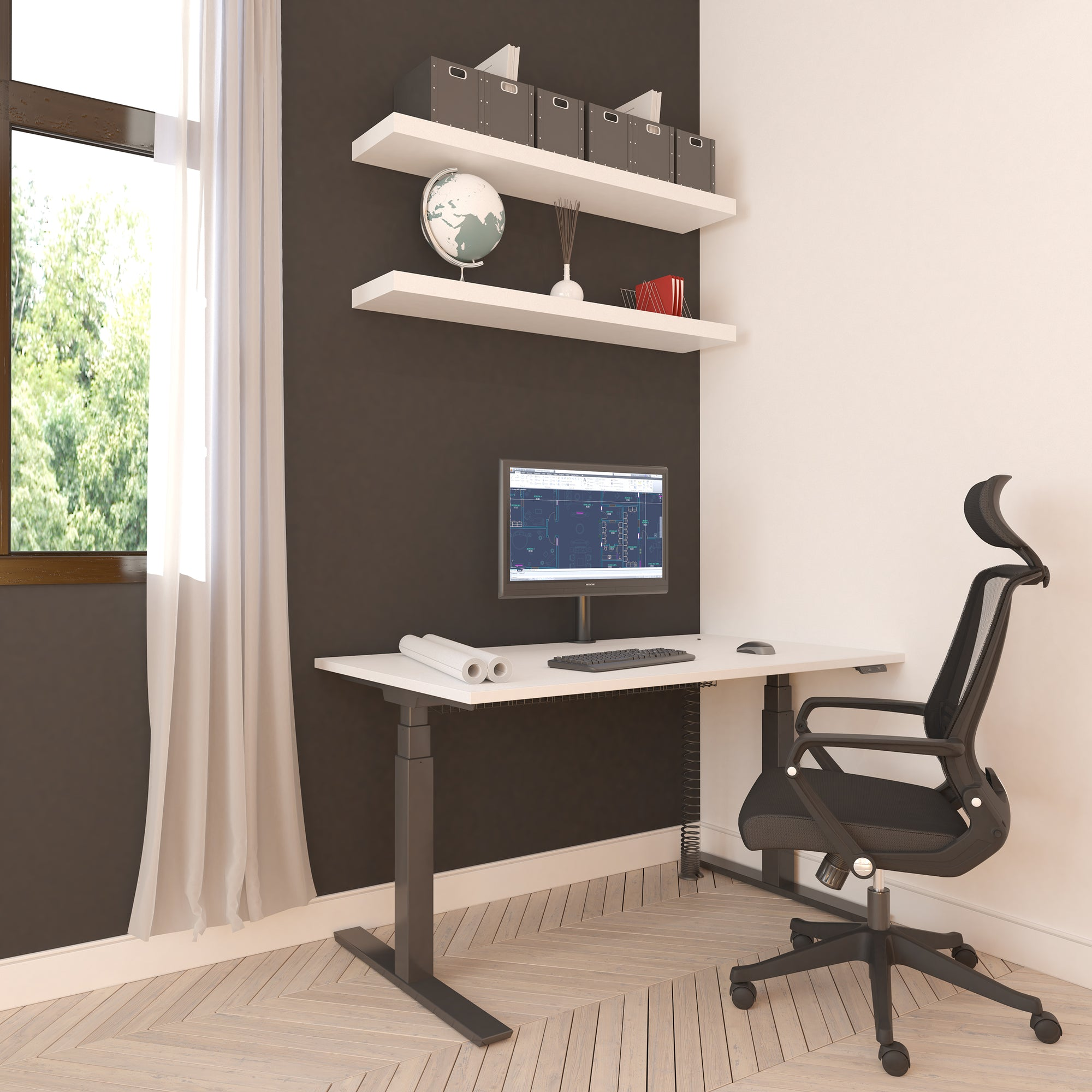 row displays en height ergo slm sl t rooms desk plaatwerk single setting control with view lowest manually front tol in products adjustable of