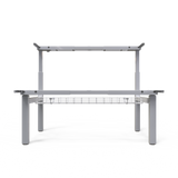 UNITY 2.2 White c/w Bamboo Desk Tops - Sit Stand Double Adjustable Bench