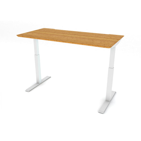 FLAIR 1.1 White c/w Bamboo Rectangle Desk Top