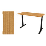 AGILE 1.2 Black c/w Bamboo Rectangle Desk Top - Sit-Stand adjustable Desk