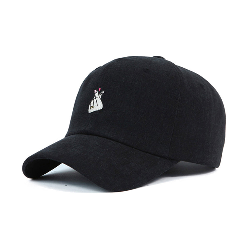 Korean Heart Sign Cap | Black