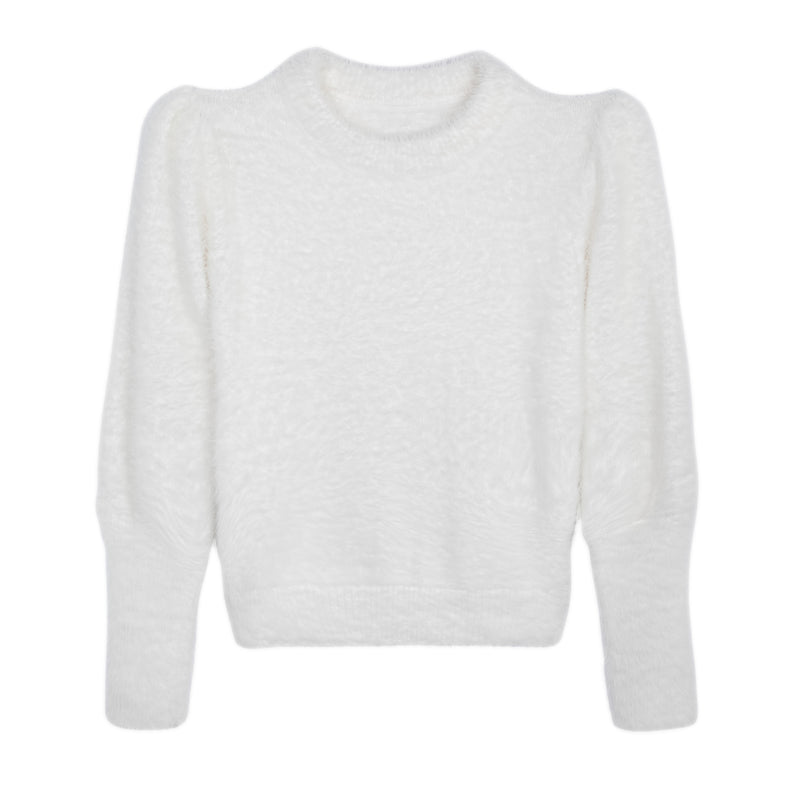 KNIT FLUFFY TOP WHITE