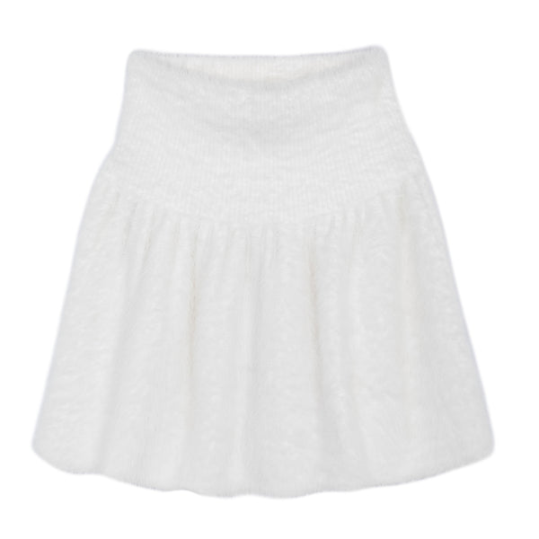 FLUFFY KNIT MINI SKIRT WHITE