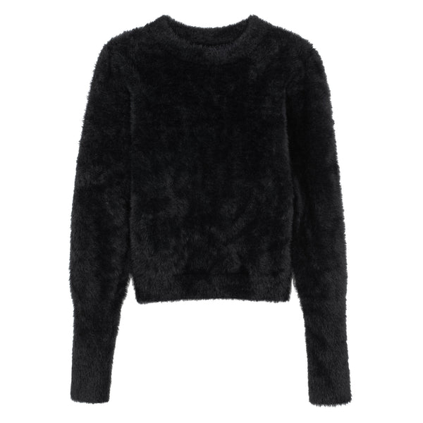 KNIT FLUFFY TOP BLACK