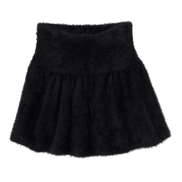 FLUFFY KNIT MINI SKIRT BLACK