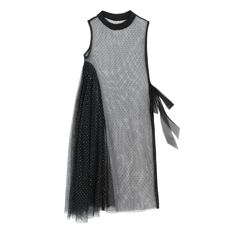 MOR DRESS BLACK SILVER DOTS