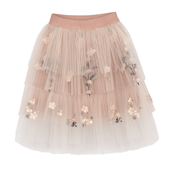 TULLE SKIRT FLOWER EMBROIDERY