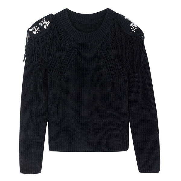 KNIT WITH SHOULDER PATCH BLACK