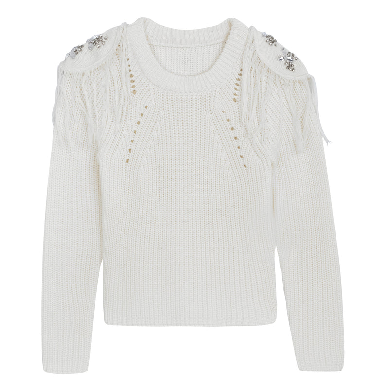 KNIT WITH SHOULDER PATCH WHITE