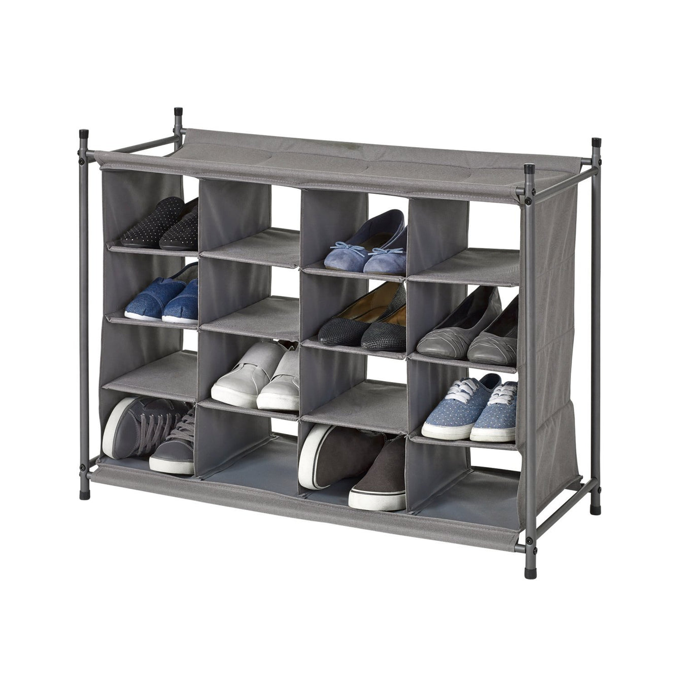 Stackable 16-Cubby Shoe Organizer