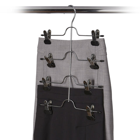 Metal 4-Tier Pant and Skirt Hanger w Clips