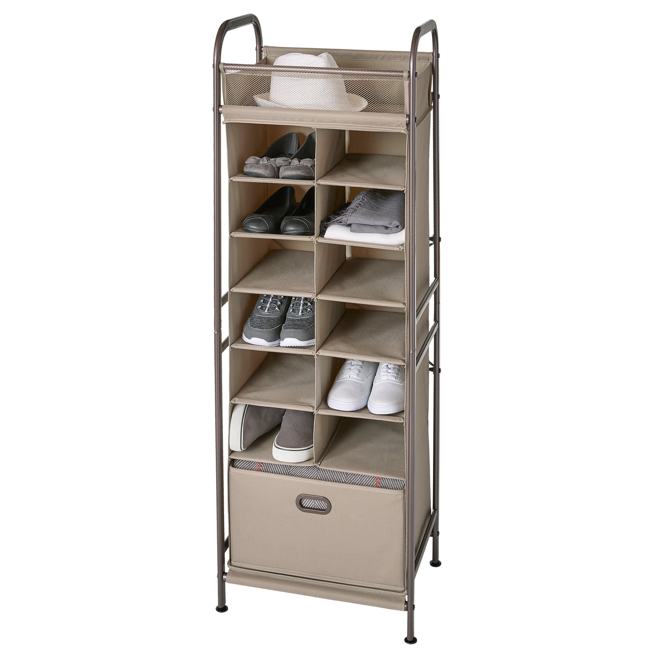Vertical 12-Cubby Shoe Storage Organizer