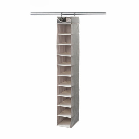 Hanging 10 Shelf Shoe Organizer with Top Shelf