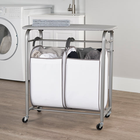 Easy Access Double Laundry Sorter w Folding Table