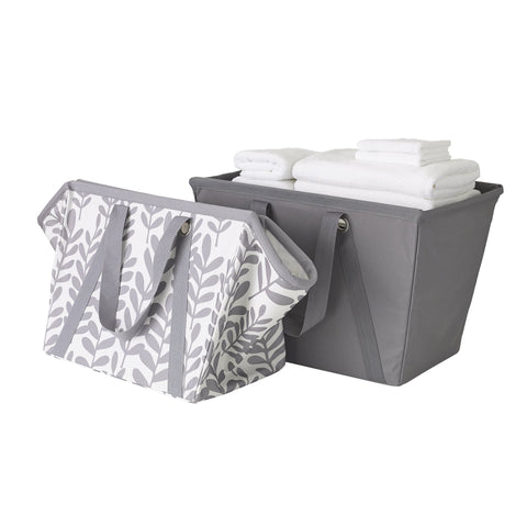 Set of 2 Easy Carry Flexible Laundry Tote