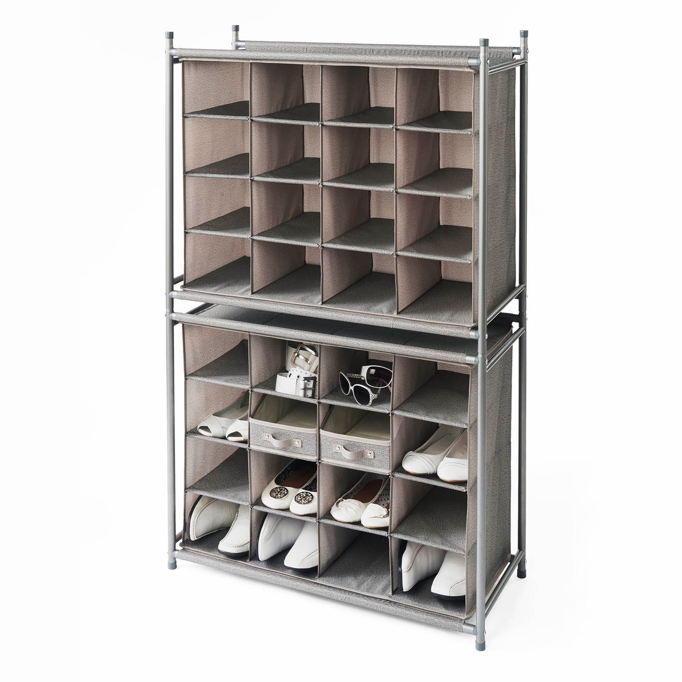 Deluxe 16 Cubby Stackable Shoe Organizer