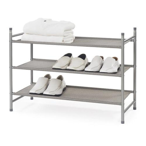 3 Tier Metal Shoe Rack w Fabric Shelves