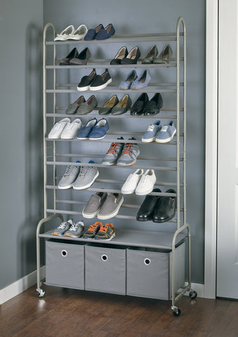 High Capacity Rolling Shoe Tower w Bins