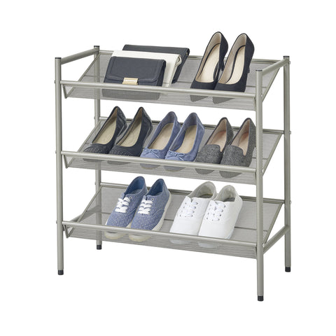 3 Tier Adjustable Metal Mesh Shoe Rack