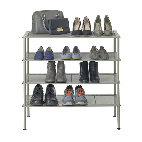 Set of 2 - 2 Tier Stackable Metal Shoe Rack