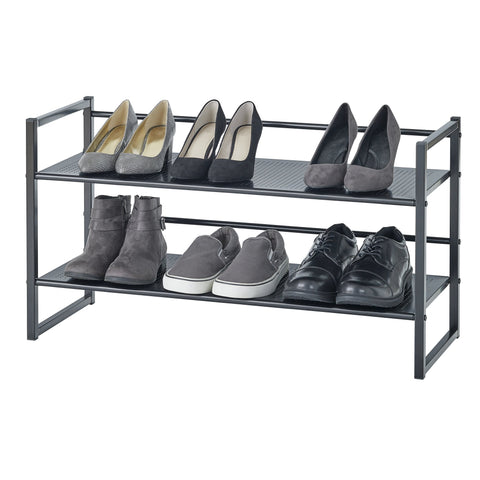 2 Tier Stackable Stamped Metal Shoe Rack