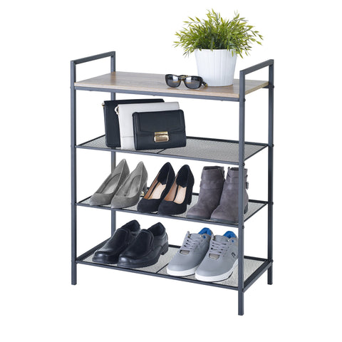 4-Tier Shelf Storage w Wood Grain Top