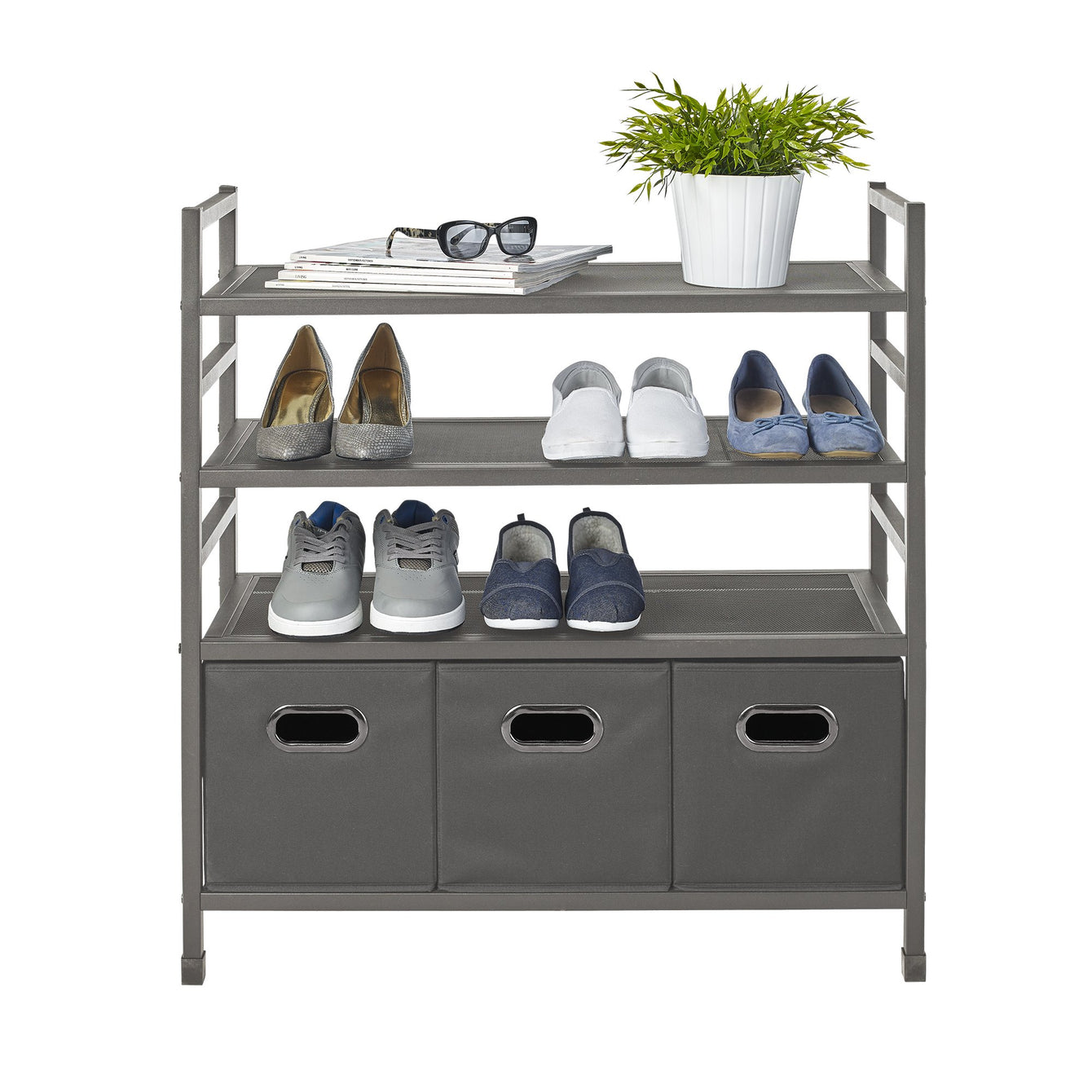 4 Tier Stackable Metal Storage Rack w Fabric Bins