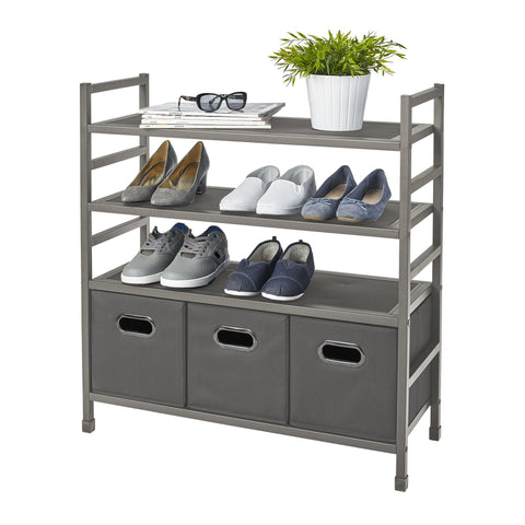4-Tier Stackable Metal Storage Rack w Fabric Bins
