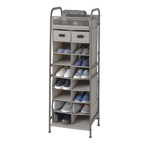 Adjustable 16-Cubby Shoe Storage Organizer w Drawers