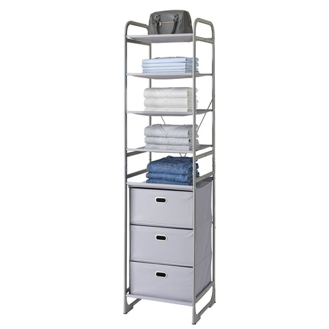 Versa System 4-Tier Shelf and 3-Drawer Storage Tower – Style 5226