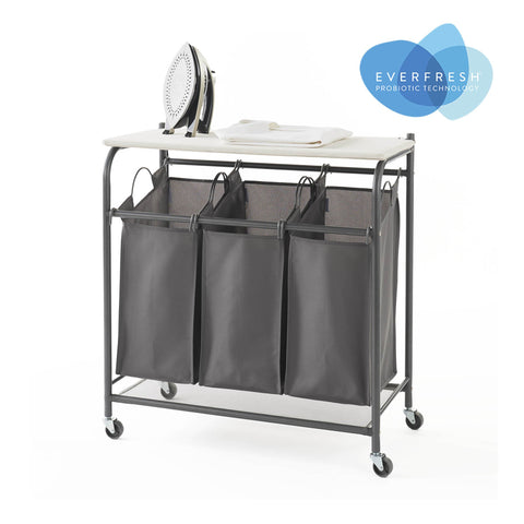 Rolling Triple Laundry Sorter w Ironing Board Top