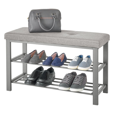 Fabric Upholstered Shoe Storage Bench