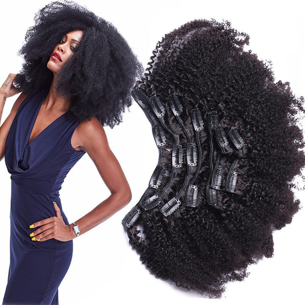 Morningsilkwig Afro Kinky Curly Clip In Human Hair Extensions