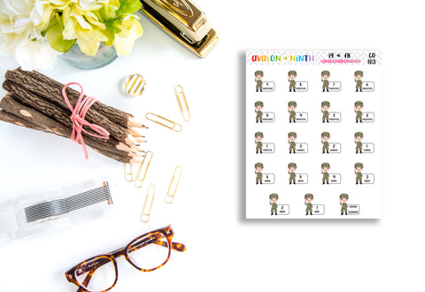 Military Countdown Stickers // Planner Stickers // CD103