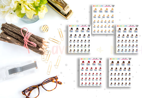 Reading Girl // Planner Stickers // CHSH