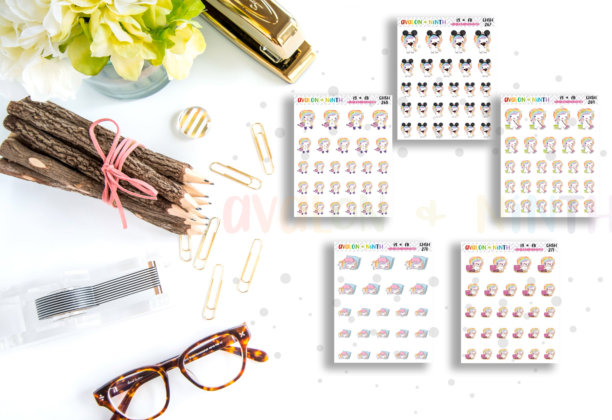 Rainbow Unicorn // Planner Stickers // CHSH
