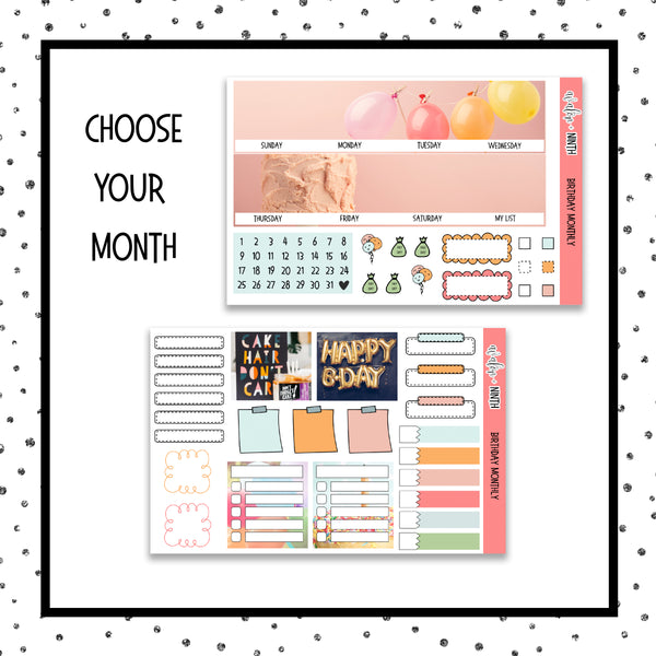 Choose Your Own Month Birthday Monthly Kit // EC Vertical // Planner Stickers // CYMEC