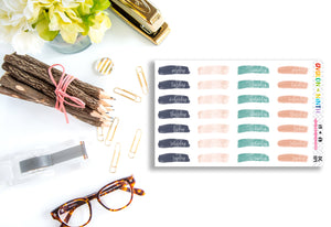 Brush Stroke Date Covers // Planner Stickers // DC109