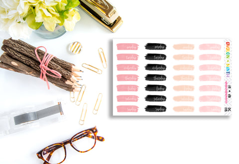 Brush Stroke Date Covers // Planner Stickers // DC118