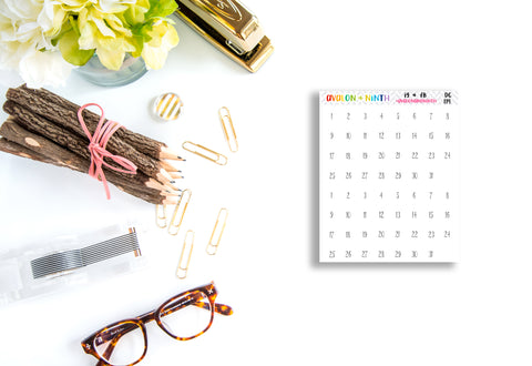 Date Dots // Planner Stickers // DC119