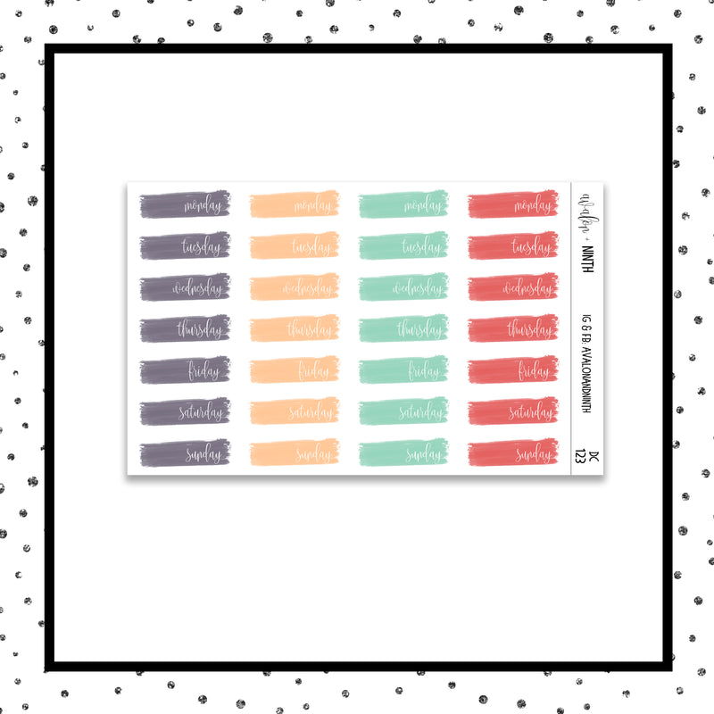 Brush Stroke Date Covers // Planner Stickers // DC123