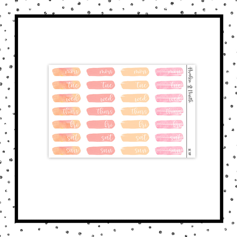 Brush Stroke Date Covers // Planner Stickers // DC139